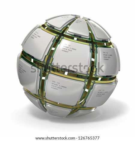 CPU. Sphere from computer's processors on white isolated background .3d - stock photo