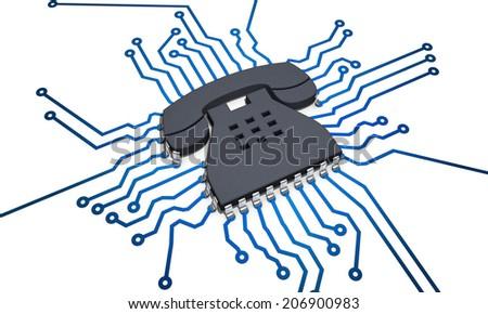 CPU telephone - stock photo