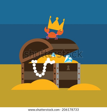 Crab and chest with gold Raster version - stock photo
