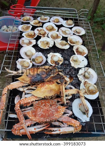 crab and Scallop grill  - stock photo