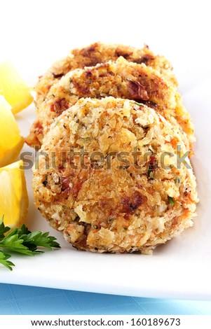Crab cakes - stock photo