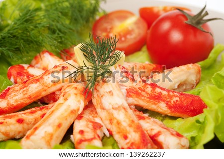 crab meat with salad and vegetables - stock photo