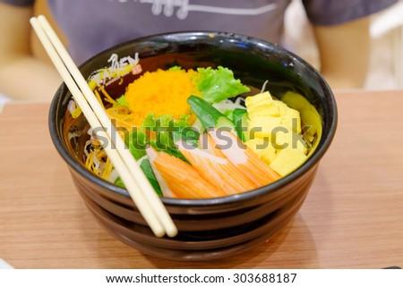 Crab salad, shrimp eggs ready to eat japanese food - stock photo