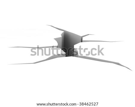 Crack. High resolution 3D render - stock photo