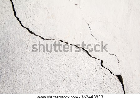 Crack. Texture of old painted white plaster. Cracked wall. - stock photo
