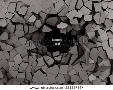 Cracked abstract background on black background 3d illustration - stock photo