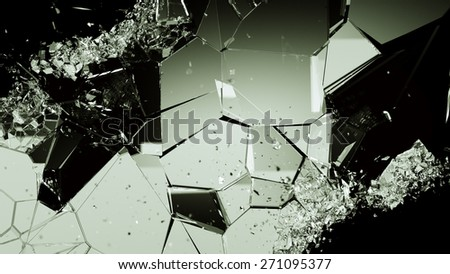 Cracked and damaged glass pieces on black. Large resolution - stock photo