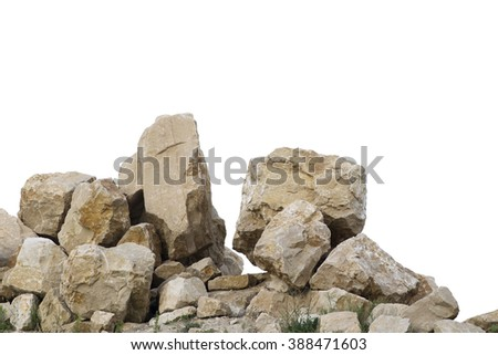 Cracked boulders on big pile of rocks - stock photo