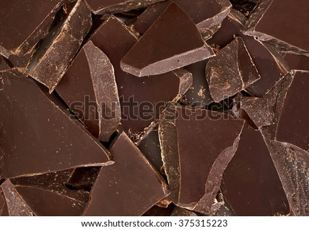 Cracked chocolates from top - stock photo