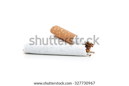 Cracked cigarette. All on white background - stock photo