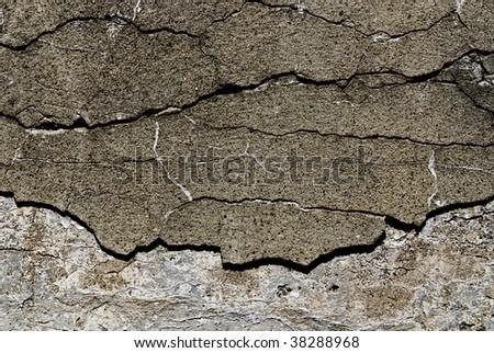cracked concrete - stock photo