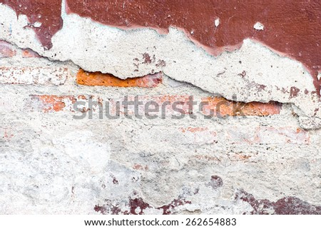 Cracked decay painted concrete wall texture background,grunge wall - stock photo