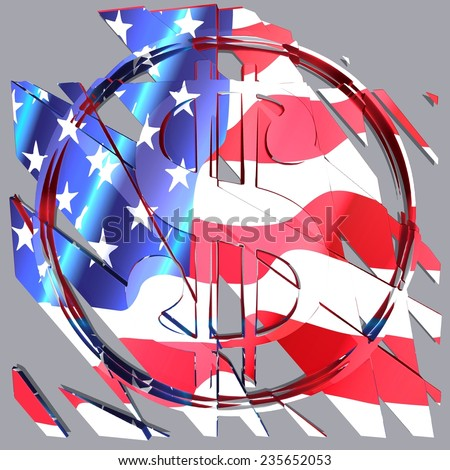 Cracked dollar money crisis United States of America. Coin color flag  - stock photo