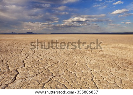 Cracked earth in the Alvord Playa, a dry lakebed in the Alvord Desert in southeastern Oregon, USA. - stock photo