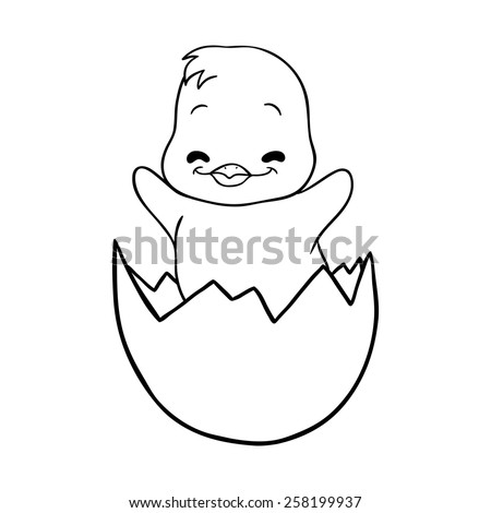 Cracked egg with cute bird inside,  image on a white background - stock photo