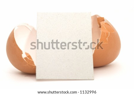 Cracked Egg with Empty Card #4 - stock photo