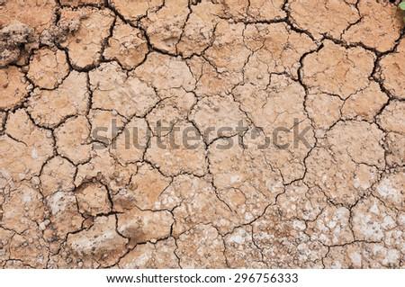 Cracked ground,Dry land. Cracked ground background,Dry cracked ground filling the frame as background - stock photo