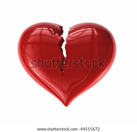 Cracked Heart - stock photo