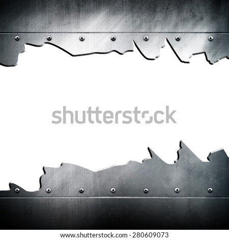 cracked metal plate background - stock photo