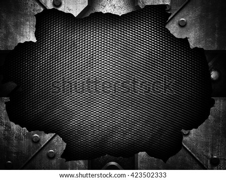 cracked metal with mesh background - stock photo