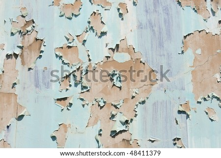 Cracked paint on an old house, Bangkok, Thailand. - stock photo