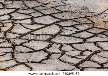 Cracked  soil due to the summer drought - stock photo