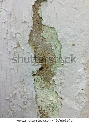 Cracked wall color,Surface paint on the walls are damaged. - stock photo