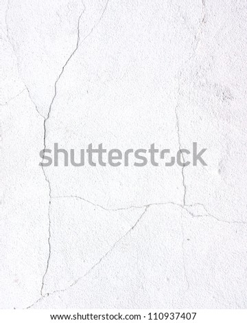 cracked wall white background texture - stock photo