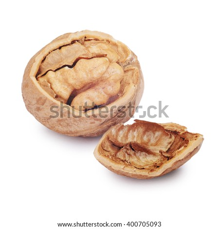 Cracked walnut isolated on the white background. Clipping Path - stock photo