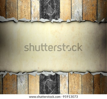 Cracked wooden template with old paper, background - stock photo