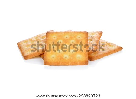 cracker biscuit isolated on white background - stock photo