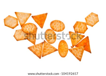 Cracker biscuits isolated on white background - stock photo