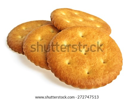 Cracker cookies isolated on white background - stock photo