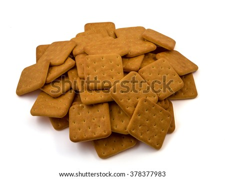 Cracker cookies isolated on white background. tasty and fragrant - stock photo
