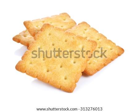 Cracker isolated on white - stock photo