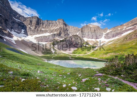 Cracker lake campground, Glacier national park, Montana - stock photo