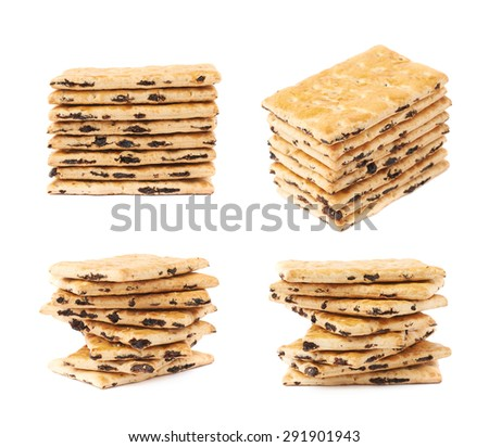 Cracker raisin cookies stack composition isolated over the white background, set of four different foreshortenings - stock photo