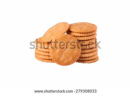 Crackers isolated on white background. - stock photo