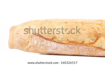 Crackling white bread. Isolated on a white background - stock photo
