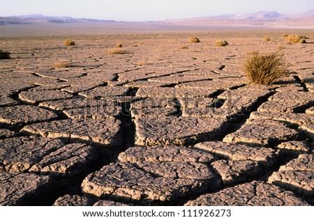 Cracks in the ground in he Atacama desert, Chile - stock photo