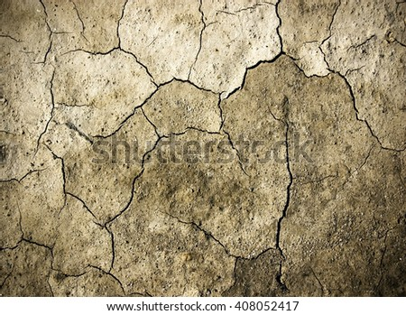 Cracks on wall, grunge background, monochrome texture - stock photo