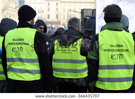 CRACOW, POLAND - JANUARY 23, 2016:  the Demonstration against the surveillance on Internet organized through The Committee for the Defence of Democracy / KOD /. Cracow, Poland - stock photo