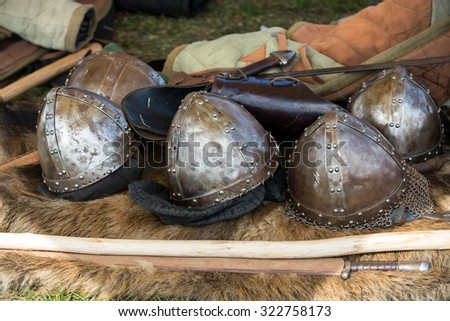 Cracow, Poland. Knight camp during the traditional Medieval festival - stock photo