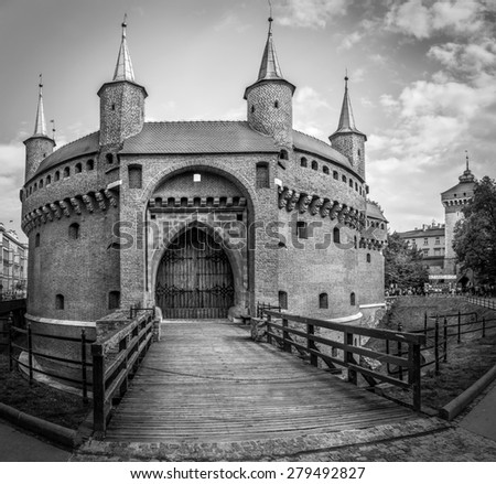 CRACOW, POLAND - MAY 02, 2015: black and white photo of Barbakan fortress in Cracow ( Krakow ), Poland - stock photo