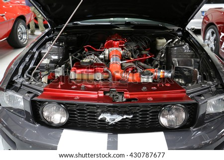 CRACOW, POLAND - MAY 21, 2016: Ford Mustang GT displayed at 3rd edition of MOTO SHOW in Cracow Poland. Exhibitors present  most interesting aspects of the automotive industry - stock photo