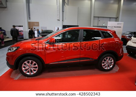 CRACOW, POLAND - MAY 21, 2016: Renault Kadjar displayed at 3rd edition of MOTO SHOW in Cracow Poland. Exhibitors present  most interesting aspects of the automotive industry - stock photo
