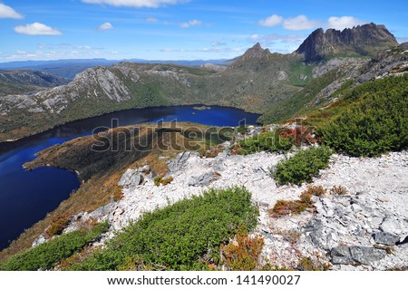 Cradle Mountain and Dove Lake, Tasmania, Australia - stock photo