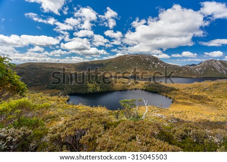 Cradle Mountain and Dove Lake Tasmania in Cradle Mountain Lake St Clair National Park, Australia - stock photo