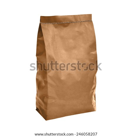 Craft charcoal paper bag isolated on white background - stock photo