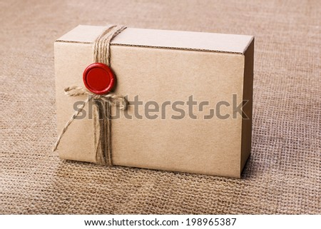 Craft gift box - stock photo